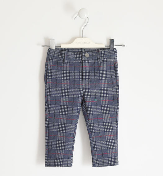 Trousers in Milano stitch prince of wales pattern for boy from 6 months to 7 years Sarabanda GRIGIO-MULTICOLOR-6NY6
