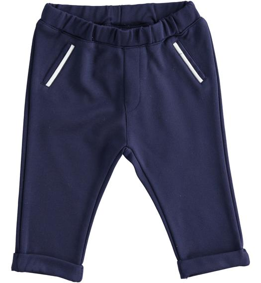 Baby boy trousers of stretch viscose blend Milano stitch for baby boy from 0 to 24 months Minibanda NAVY-3854