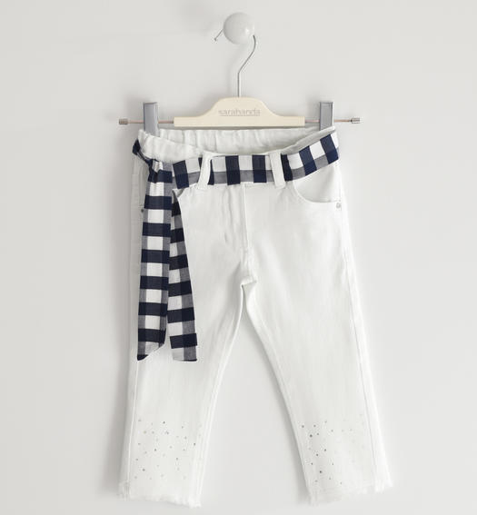 Sarabanda twill trousers with fraying and rhinestones for girl from 6 months to 7 years BIANCO-0113