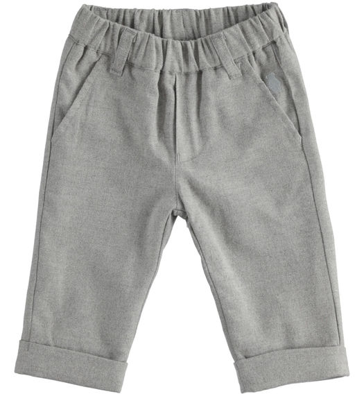 Soft finish twill trousers lined in cotton for newborn boy from 0 to 24 months Minibanda GRIGIO MELANGE-8867
