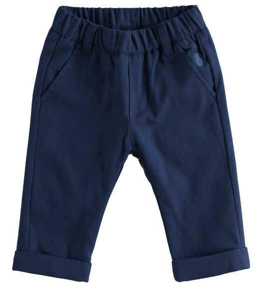 Soft finish twill trousers lined in cotton for newborn boy from 0 to 24 months Minibanda NAVY-3854
