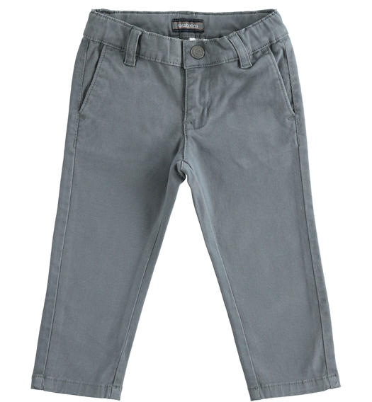 Slim-fit trousers in stretch cotton twill for baby boys from 6 months to 7 years Sarabanda GRIGIO SCURO-3829