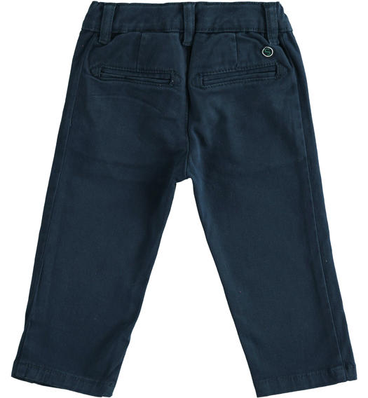 Slim-fit trousers in stretch cotton twill for baby boys from 6 months to 7 years Sarabanda NAVY-3885