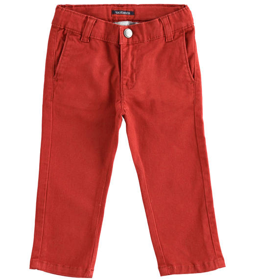 Slim-fit trousers in stretch cotton twill for baby boys from 6 months to 7 years Sarabanda ROSSO-2536
