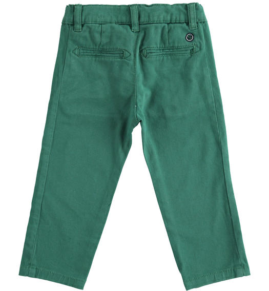 Slim-fit trousers in stretch cotton twill for baby boys from 6 months to 7 years Sarabanda VERDE-4554