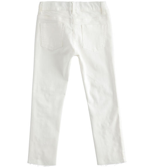 Sarabanda stretch twill trousers with pearls for girl from 6 to 16 years PANNA-0112