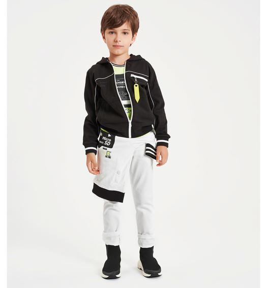 Elegant Sarabanda twill trousers for boy from 6 to 16 years BIANCO-0113