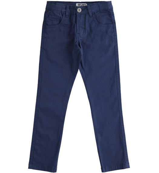 Elegant Sarabanda twill trousers for boy from 6 to 16 years NAVY-3854