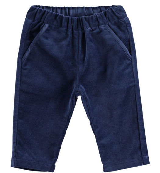 100% cotton velvet trousers for newborn boy from 0 to 24 months Minibanda NAVY-3854