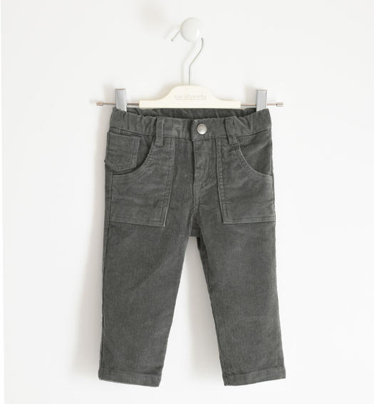 Winter trousers in stretch velvet for boy from 6 months to 7 years Sarabanda GRIGIO SCURO-0564