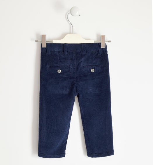 Winter trousers in stretch velvet for boy from 6 months to 7 years Sarabanda NAVY-3854