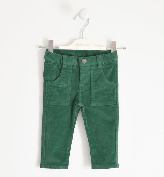 Winter trousers in stretch velvet for boy from 6 months to 7 years Sarabanda VERDE-4726