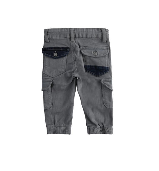 Cargo model trousers in stretch twill boy from 6 months to 7 years Sarabanda GRIGIO SCURO-0564
