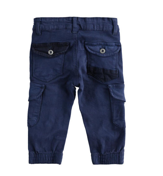 Cargo model trousers in stretch twill boy from 6 months to 7 years Sarabanda NAVY-3854
