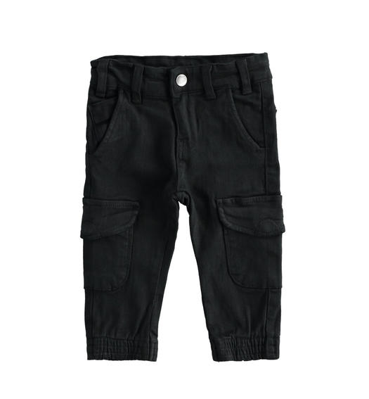 Cargo model trousers in stretch twill boy from 6 months to 7 years Sarabanda NERO-0658