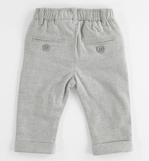 Peach skin shuttle weaving stretch trousers for newborn from 0 to 24 months Minibanda GRIGIO MELANGE-8992