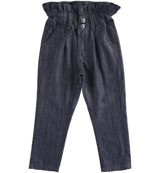 Paper bag trousers in denim for girl from 6 to 16 years Sarabanda BLU-7750