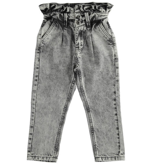 Paper bag trousers in denim for girl from 6 to 16 years Sarabanda NERO-7990