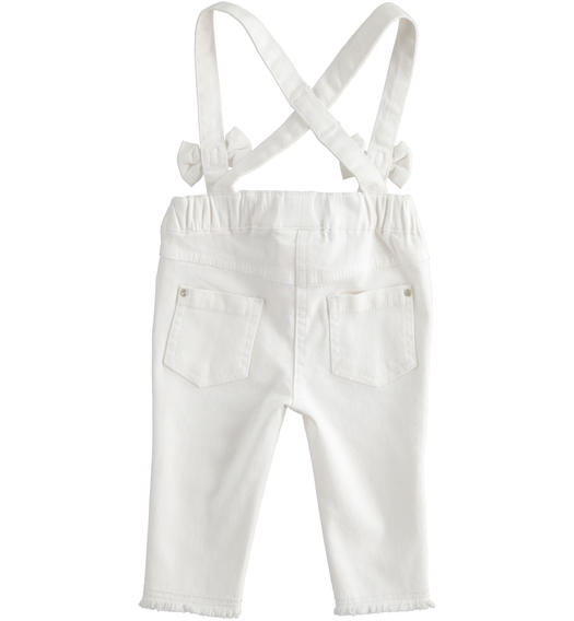 Baby girl stretch cotton twill trousers dungarees model for baby girl from 0 to 24 months Minibanda BIANCO-0113