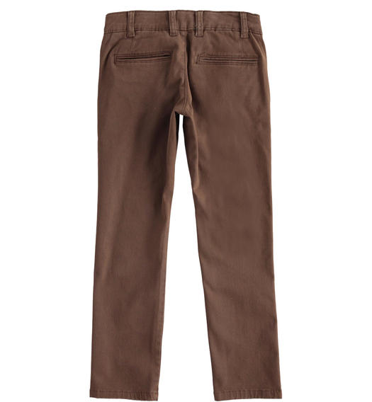 Slim-fit trousers in stretch cotton twill for boy from 6 to 16 years Sarabanda MARRONE-0853