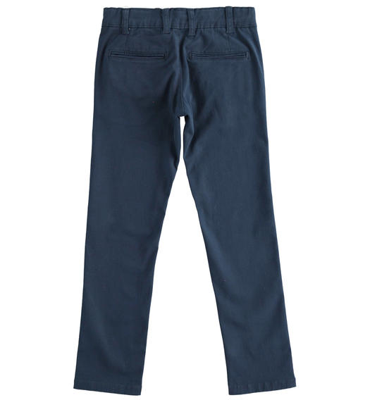 Slim-fit trousers in stretch cotton twill for boy from 6 to 16 years Sarabanda NAVY-3885