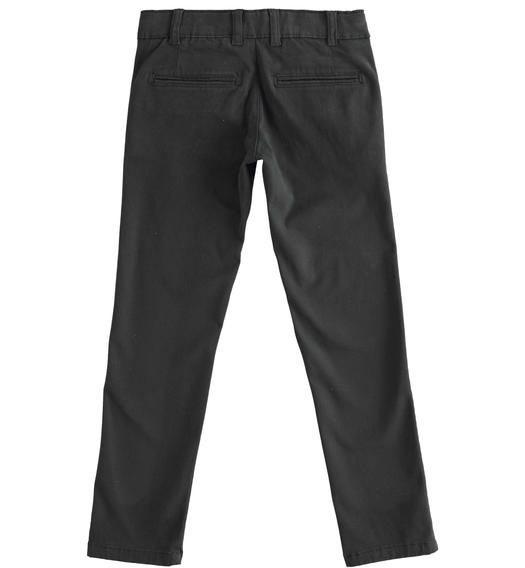 Slim-fit trousers in stretch cotton twill for boy from 6 to 16 years Sarabanda NERO-0658