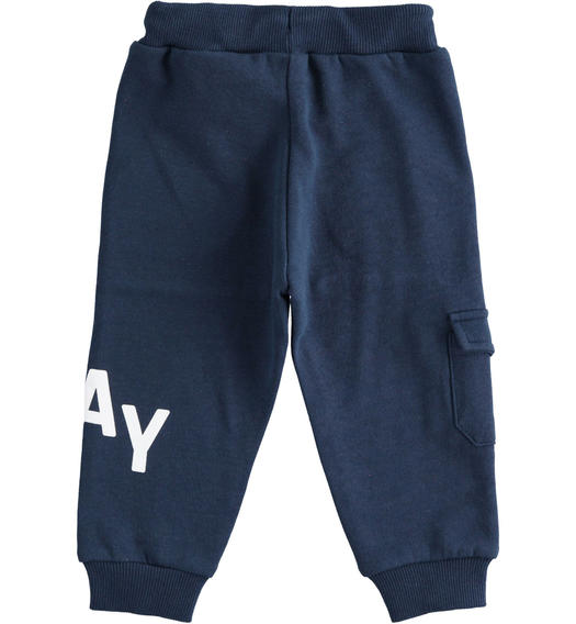 Sporty trousers in brushed fleece with side pocket for boy from 6 months to 7 years Sarabanda NAVY-3854