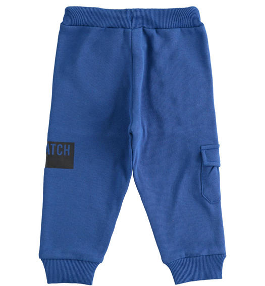 Sporty trousers in brushed fleece with side pocket for boy from 6 months to 7 years Sarabanda ROYAL SCURO-3755
