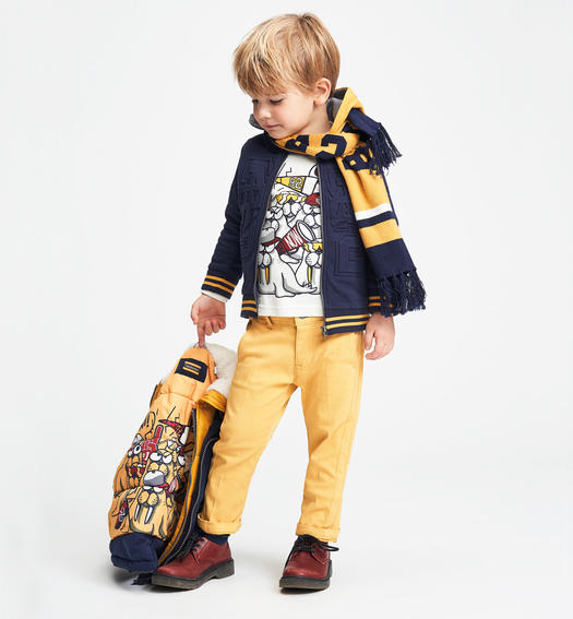 Sarabanda parka jacket with nice contrasting colour lining with patterns for baby boys from 6 months to 7 years NAVY-3854