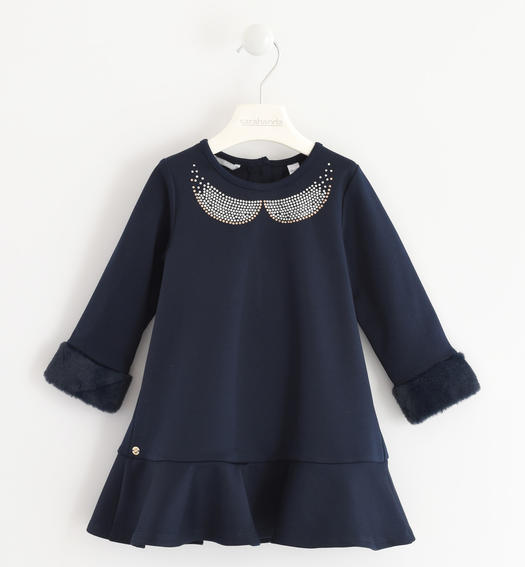Particular dress with a «a» fit in Milano stitch for baby girls from 6 months to 7 years Sarabanda NAVY-3885
