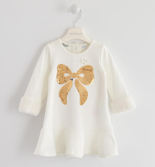 Particular dress with a «a» fit in Milano stitch for baby girls from 6 months to 7 years Sarabanda PANNA-0112