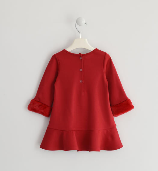 Particular dress with a «a» fit in Milano stitch for baby girls from 6 months to 7 years Sarabanda ROSSO-2253