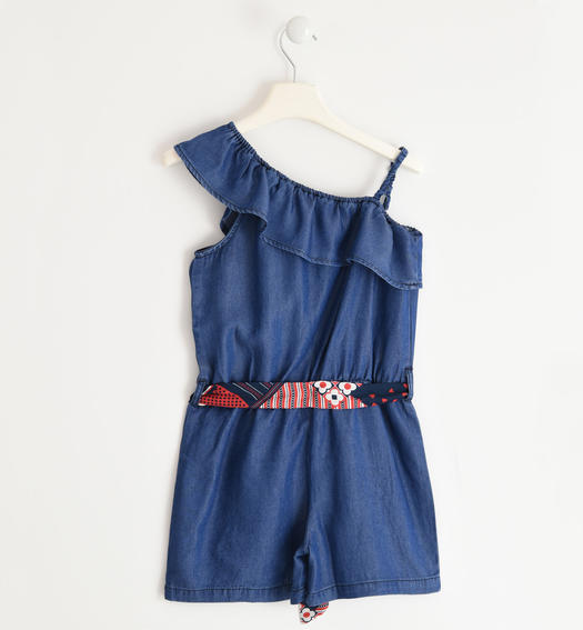 Particular and soft Sarabanda dungarees for girl from 6 to 16 years STONE WASHED-7450