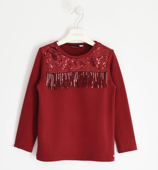 Particular round neck with sequins and fringes for girl from 6 to 16 years Sarabanda BORDEAUX-2548