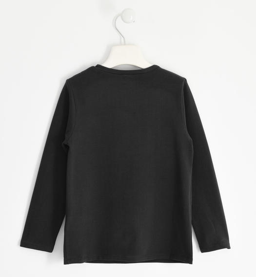 Particular round neck with sequins and fringes for girl from 6 to 16 years Sarabanda NERO-0658