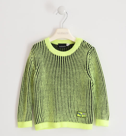 Particular striped effect tricot sweater for boy from 6 months to 7 years Sarabanda VERDE FLUO-5834
