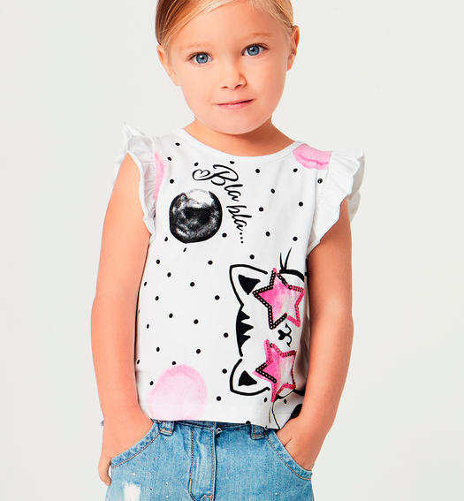 Special t-shirt with colourful kitten print and sequin stars for baby girls from 6 months to 7 years Sarabanda BIANCO-0113