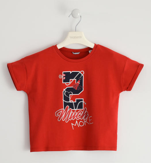 Special T-shirt with a print for girl from 6 to 16 years Sarabanda ROSSO-2256
