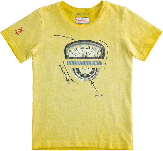 Particular vintage effect t-shirt 100% cotton for boy from 6 to 16 years Sarabanda GIALLO-1434