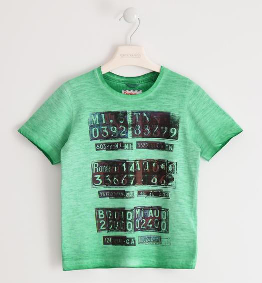 Particular vintage effect t-shirt 100% cotton for boy from 6 to 16 years Sarabanda VERDE-5034