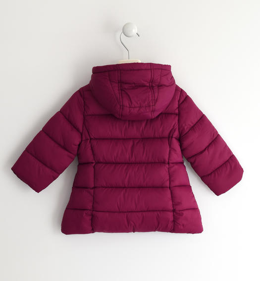 Wadding padded jacket with horizontal quilt for baby girls from 6 months to 7 years Sarabanda MAGENTA-2836
