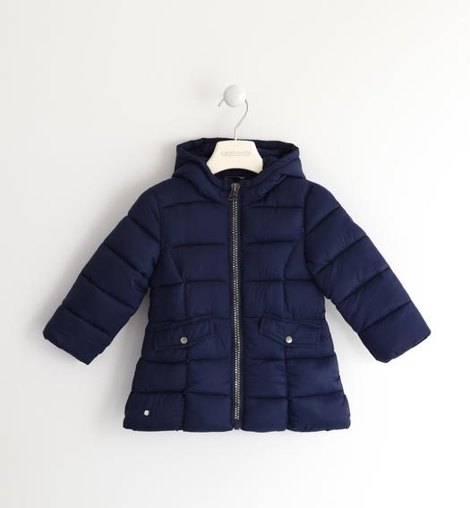 Wadding padded jacket with horizontal quilt for baby girls from 6 months to 7 years Sarabanda NAVY-3854