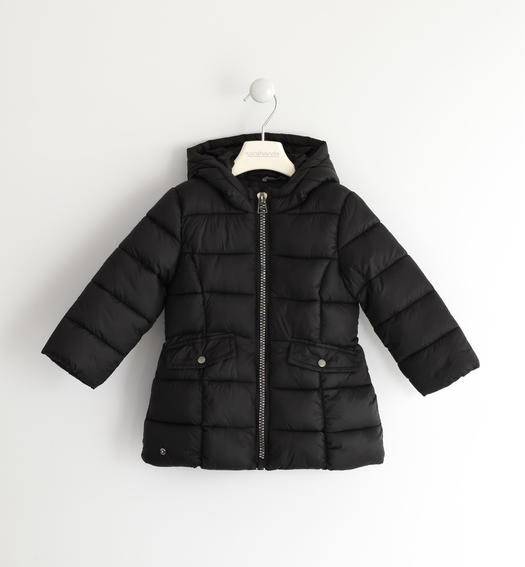 Wadding padded jacket with horizontal quilt for baby girls from 6 months to 7 years Sarabanda NERO-0658