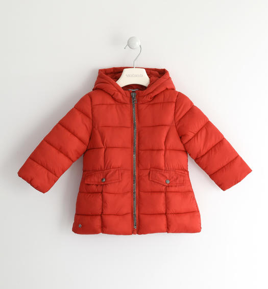 Wadding padded jacket with horizontal quilt for baby girls from 6 months to 7 years Sarabanda ROSSO-2253