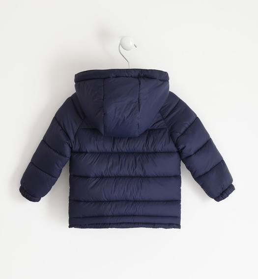 Padded nylon down jacket with contrasting sleeve for boy from 6 months to 7 years Sarabanda NAVY-3854