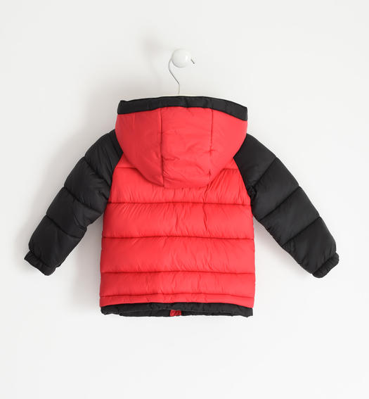 Padded nylon down jacket with contrasting sleeve for boy from 6 months to 7 years Sarabanda ROSSO-2253