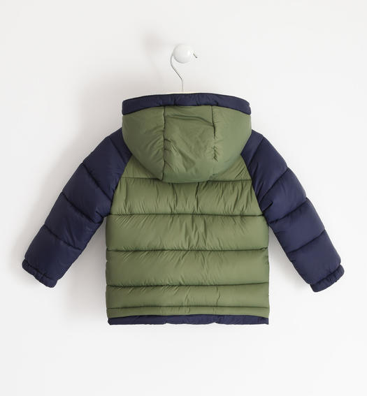 Padded nylon down jacket with contrasting sleeve for boy from 6 months to 7 years Sarabanda VERDE SALVIA-4951