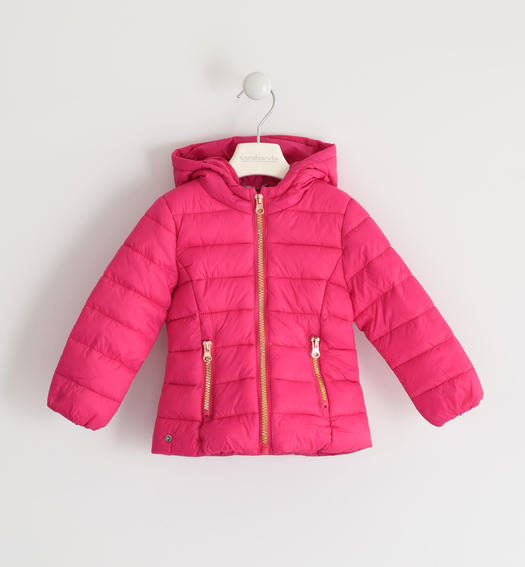 100 grams down jacket with contrasting zip for baby girls from 6 months to 7 years Sarabanda FUXIA-2438