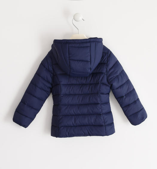 100 grams down jacket with contrasting zip for baby girls from 6 months to 7 years Sarabanda NAVY-3854