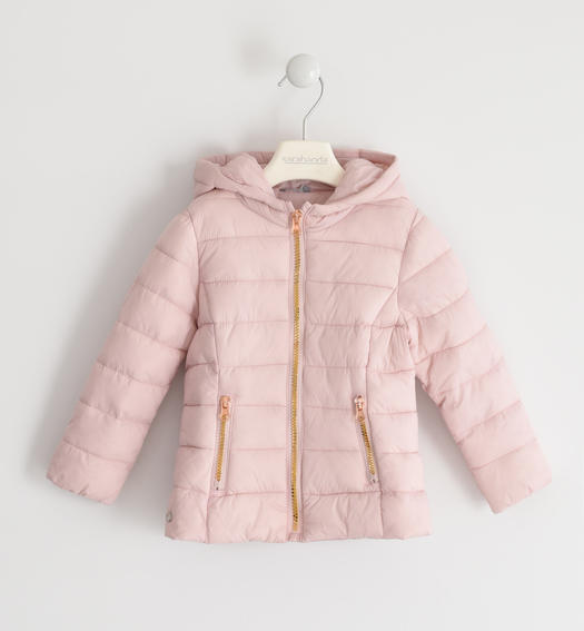 100 grams down jacket with contrasting zip for baby girls from 6 months to 7 years Sarabanda ROSA-2715